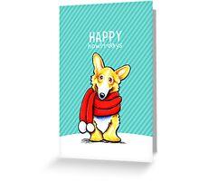 Corgi Red Scarf Happy Howl-i-days Greeting Card