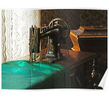 Vintage Sewing Machine Near Window Poster