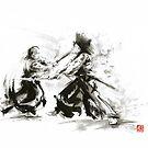 Samurai wild fight old japan bushido katana painting by Mariusz Szmerdt