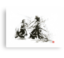 Samurai wild fight old japan bushido katana painting Canvas Print