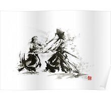 Samurai wild fight old japan bushido katana painting Poster