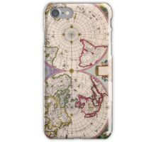Vintage Antique Map of the World From the Poles iPhone Case/Skin