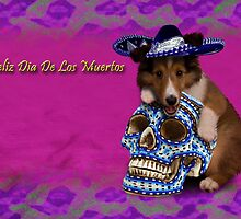 Feliz Dia De Los Muertos Happy Day Of The Dead Sheltie Puppy by jkartlife