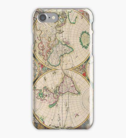 Vintage Antique Map of the Hemispheres iPhone Case/Skin