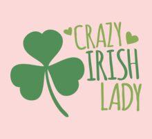 Crazy Irish Lady with green ireland shamrock One Piece - Short Sleeve