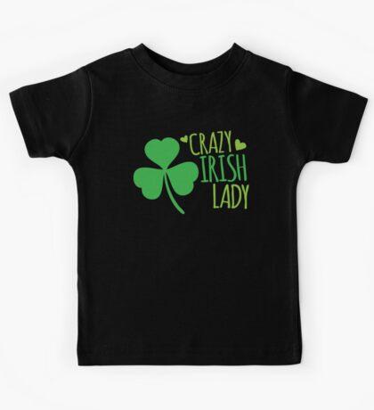 Crazy Irish Lady with green ireland shamrock Kids Tee