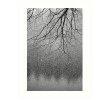 Snow flakes and Tree Art Print