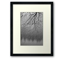 Snow flakes and Tree Framed Print