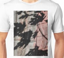 Shadows Against Old Red Barn Wood Unisex T-Shirt
