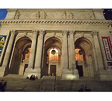 New York Public Library at Night, New York City Photographic Print