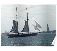 Tall Ship Passing Statue of Liberty, Hudson River, New York City Poster
