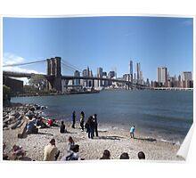 A Beach in Brooklyn, Brooklyn Bridge, Brooklyn Bridge Park, Brooklyn, New York  Poster