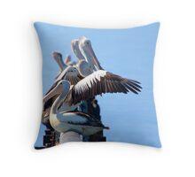 Pelican gathering Throw Pillow