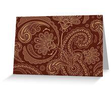 Oriental Persian Paisley, Swirls - Brown Beige  Greeting Card
