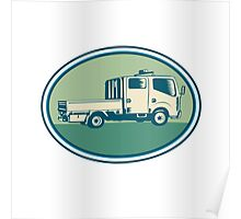 Double Cab Pick-up Truck Oval Woodcut Poster