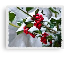 Holly Berry Digital Painting Canvas Print