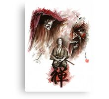 Samurai ronin zen meditation deamons of mind martial arts sumi-e original ink painting artwork Canvas Print