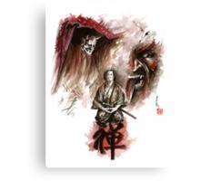 Samurai ronin zen meditation deamons of mind martial arts sumi-e original ink painting artwork Canvas Print