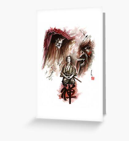 Samurai ronin zen meditation deamons of mind martial arts sumi-e original ink painting artwork Greeting Card