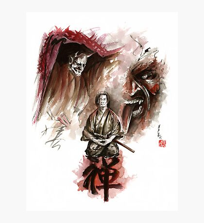 Samurai ronin zen meditation deamons of mind martial arts sumi-e original ink painting artwork Photographic Print