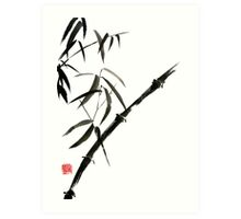 Bamboo japanese chinese sumi-e suibokuga tree watercolor original ink painting Art Print