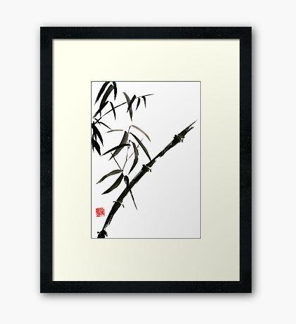Bamboo japanese chinese sumi-e suibokuga tree watercolor original ink painting Framed Print