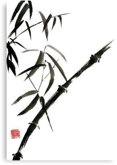 Bamboo japanese chinese sumi-e suibokuga tree watercolor original ink painting by Mariusz Szmerdt