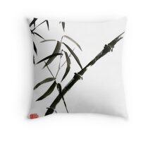 Bamboo japanese chinese sumi-e suibokuga tree watercolor original ink painting Throw Pillow