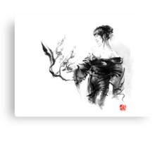 Geisha Japanese woman in kimono cherry blossom original Japan painting art Canvas Print