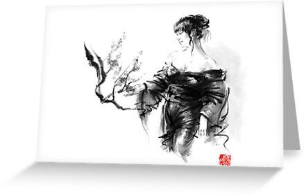 Geisha Japanese woman in kimono cherry blossom original Japan painting art by Mariusz Szmerdt