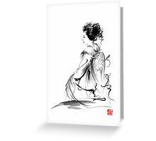 Geisha Japanese woman in Tokyo kimono original Japan painting art Greeting Card