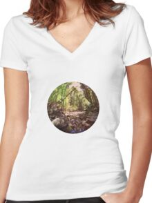 Forest. Women's Fitted V-Neck T-Shirt