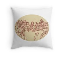 Last Supper Jesus Apostles Drawing Throw Pillow