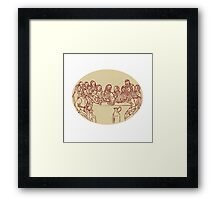 Last Supper Jesus Apostles Drawing Framed Print