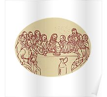 Last Supper Jesus Apostles Drawing Poster
