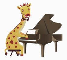 Funny giraffe playing music with grand piano by berlinrob