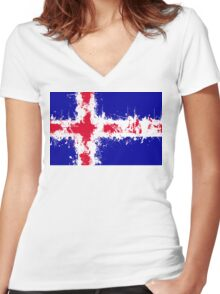 in to the sky, iceland Women's Fitted V-Neck T-Shirt