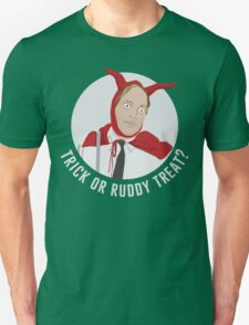 Trick or Ruddy Treat? (text) T-Shirt