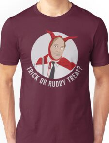 Trick or Ruddy Treat? (text) Unisex T-Shirt