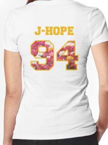 BTS- J-HOPE 94 Line Flower Design Women's Fitted V-Neck T-Shirt