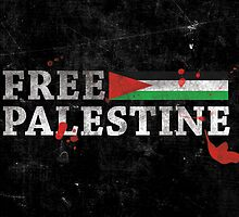 POPULAR DESIGN - FREE PALESTINE GRUNGY BLOOD T SHIRT AND CARDS by darweeshq