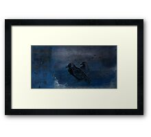 Two little crows blue sky dark night Framed Print