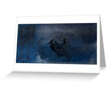 Two little crows blue sky dark night Greeting Card