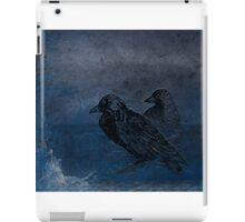 Two little crows blue sky dark night iPad Case/Skin