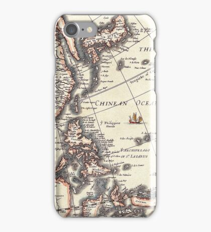 Antique Vintage Map of Chinean Sea Circa 1652 iPhone Case/Skin