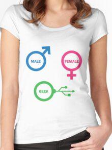 Male, Female, Geek Women's Fitted Scoop T-Shirt
