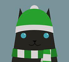 Christmas black cat by psygon