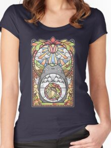 Stained Glass Forest Spirit Women's Fitted Scoop T-Shirt
