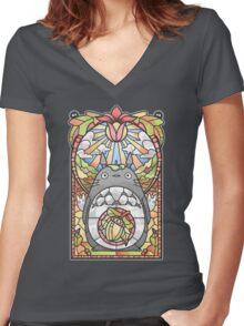 Stained Glass Forest Spirit Women's Fitted V-Neck T-Shirt
