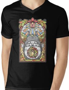 Stained Glass Forest Spirit Mens V-Neck T-Shirt